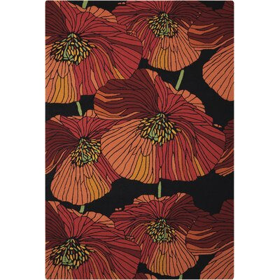 Atalanta Hand-Hooked Black/Red Area Rug Rug Size: Rectangle 5 x 76