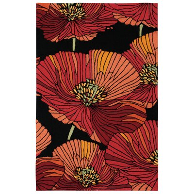 Atalanta Hand-Hooked Black/Red Area Rug Rug Size: Rectangle 36 x 56