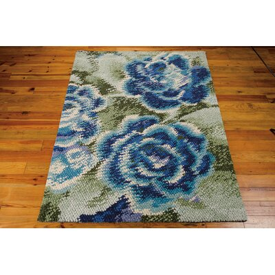 Dowden Hand-Woven Green/Blue Area Rug Rug Size: 56 x 76