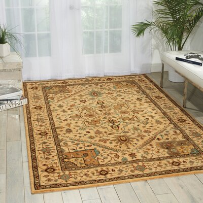 Crownover Wool Beige Area Rug Rug Size: Rectangle 36 x 56