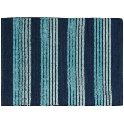 Chenille Ribbed Doormat Rug Size: 23 x 39, Color: Blue