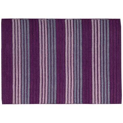 Chenille Ribbed Doormat Rug Size: 18 x 29, Color: Purple