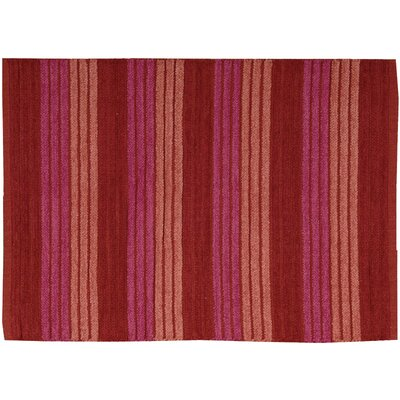 Chenille Ribbed Doormat Rug Size: 23 x 39, Color: Red
