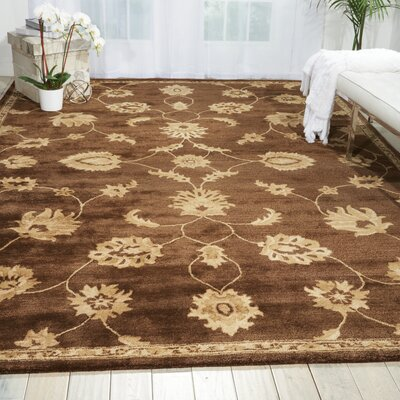 Superlative Hand-Tufted Chocolate Area Rug Rug Size: 36 x 56