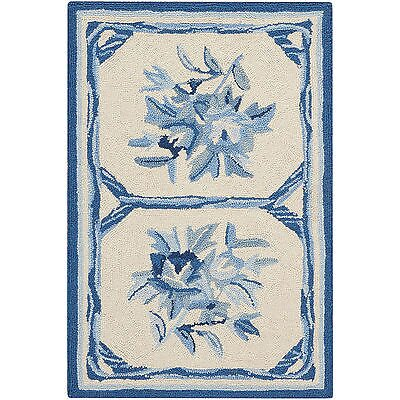 Kendall Hand-Hooked Ivory/Blue Area Rug Rug Size: 19 x 29