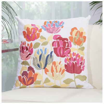 Embroidered Tulips Throw Pillow