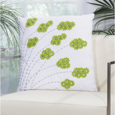 Felt Flowers Throw Pillow Color: Apple Green