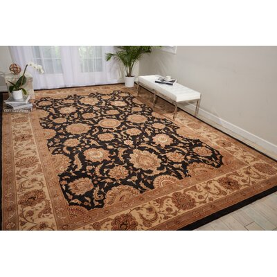 Hand Woven Wool Black Indoor Area Rug Rug Size: 79 x 99