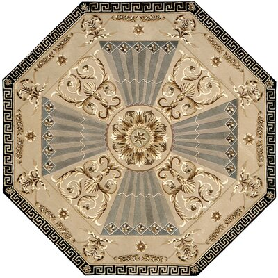 Versailles Palace Hand-Tufted Beige Area Rug Rug Size: Round 6