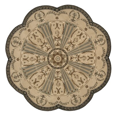Versailles Palace Hand-Tufted Beige Area Rug Rug Size: Round 8