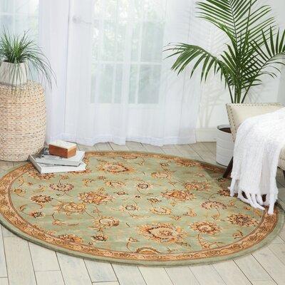 Hand Woven Wool Aqua Indoor Area Rug Rug Size: Round 4