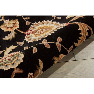 Hand Woven Wool Black Indoor Area Rug Rug Size: Round 8