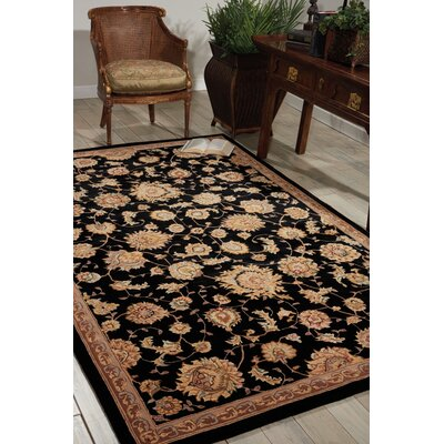Hand Woven Wool Black Indoor Area Rug Rug Size: 26 x 43