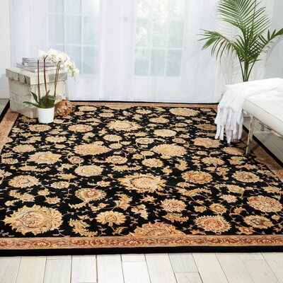 Hand Woven Wool Black Indoor Area Rug Rug Size: 86 x 116