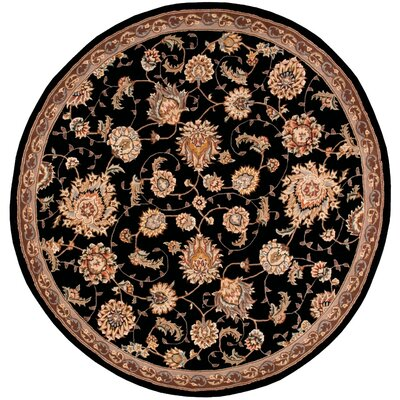 Hand Woven Wool Black Indoor Area Rug Rug Size: Round 4