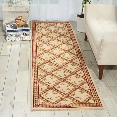 Fairchild Beige Floral and Plants Area Rug Rug Size: Runner 23 x 8