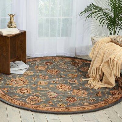 Hand Woven Wool Slate Indoor Area Rug Rug Size: Round 4