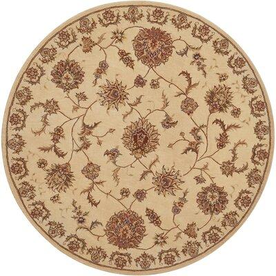 Hand Woven Wool Beige Indoor Area Rug Rug Size: Round 4