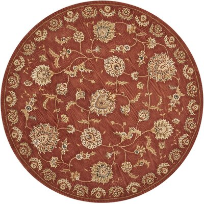 Hand-Tufted Rust Area Rug Rug Size: Round 6