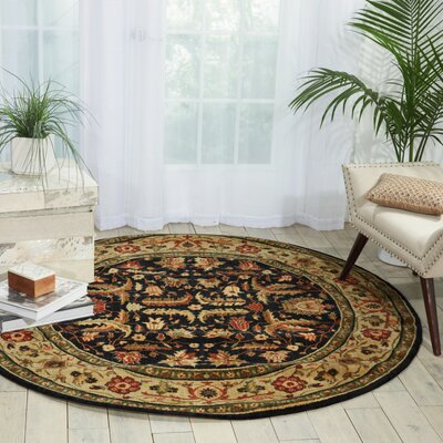 Living Treasures Midnight Area Rug Rug Size: Round 510