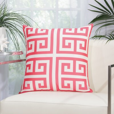 Gallia Geometric Faux Silk Outdoor Throw Pillow Color: Hot Pink