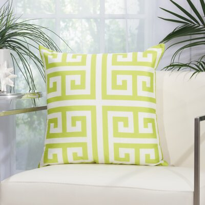Geometric Faux Silk Outdoor Throw Pillow Color: Apple Green