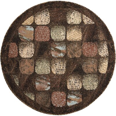 Duke Black/Brown Area Rug Rug Size: Round 53