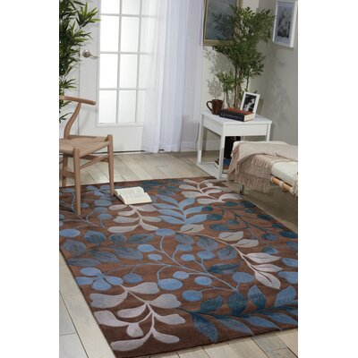 Contour Hand-Tufted Mocha/Blue Area Rug Rug Size: 8 x 106