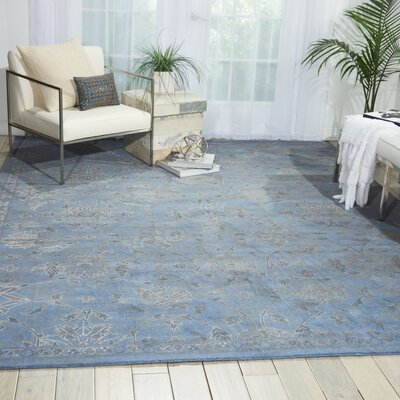 Silk Infusion Blue Area Rug Rug Size: 53 x 75