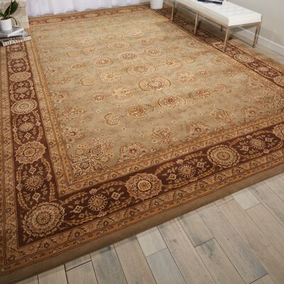 Hand Woven Wool Green/Brown Indoor Area Rug Rug Size: 99 x 139