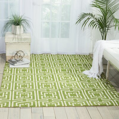 Atropos Green/Ivory Area Rug Rug Size: Rectangle 5 x 7