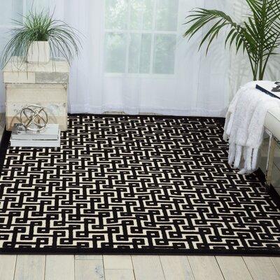 Ultima Ivory/Black Area Rug Rug Size: 26 x 4