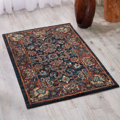 Amias Navy Area Rug Rug Size: Rectangle 53 x 75