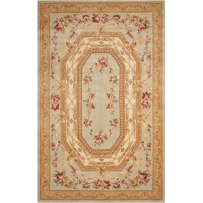 Versaille Palace Hand-Tufted Blue Area Rug Rug Size: 53 x 83