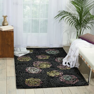 Tarah Black Area Rug Rug Size: Rectangle 36 x 56