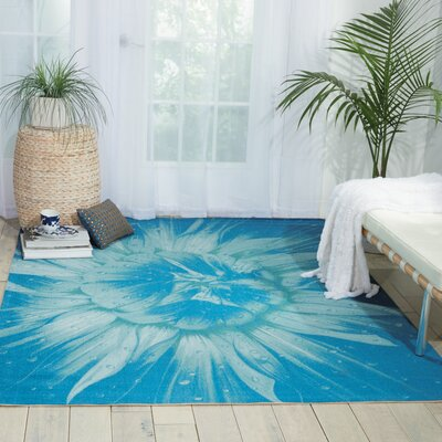 Adamov Blue Indoor/Outdoor Area Rug Rug Size: 53 x 75