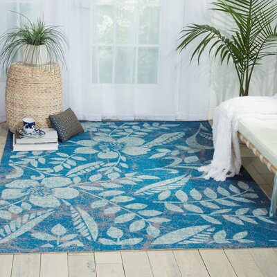 Adamov Blue Floral and Plants Indoor/Outdoor Area Rug Rug Size: 53 x 75