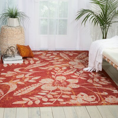 Adamov Florals Red Indoor/Outdoor Area Rug Rug Size: Rectangle 53 x 75