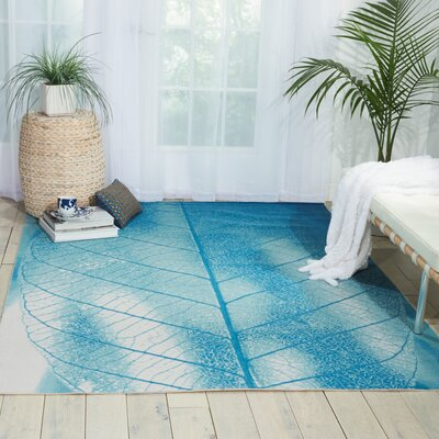Adamov Aqua Indoor/Outdoor Area Rug Rug Size: 53 x 75