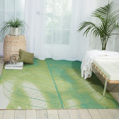 Adamov Green Floral and Plants Indoor/Outdoor Area Rug Rug Size: 53 x 75