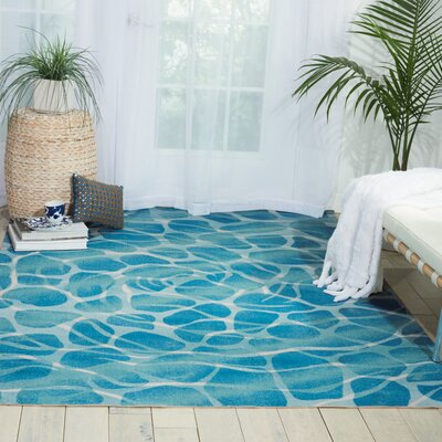 Adamov Aqua Abstract Indoor/Outdoor Area Rug Rug Size: 53 x 75