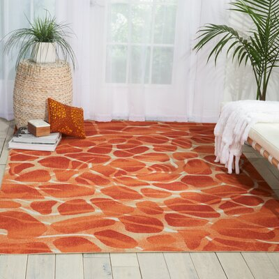 Adamov Orange Indoor/Outdoor Area Rug Rug Size: 53 x 75