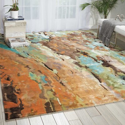 Prismatic Hand-Tufted Brown/Green/Blue Area Rug Rug Size: 56 x 75