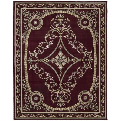Versailles Palace Hand-Tufted Dark Red Area Rug Rug Size: 76 x 96