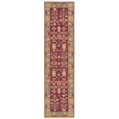 Cantrell Hand-Woven Burgundy Area Rug Rug Size: Runner 26 X 10