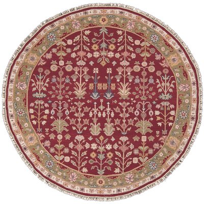Cantrell Hand-Woven Burgundy Area Rug Rug Size: Round 8
