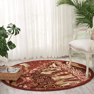 Hyde Red Area Rug Rug Size: Round 53 x 73