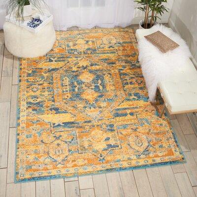 Bethesda Teal/Yellow Sun Area Rug Rug Size: Runner 110 x 6