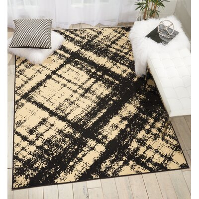 Walton Cream/Black Indoor Area Rug Rug Size: 53 x 73