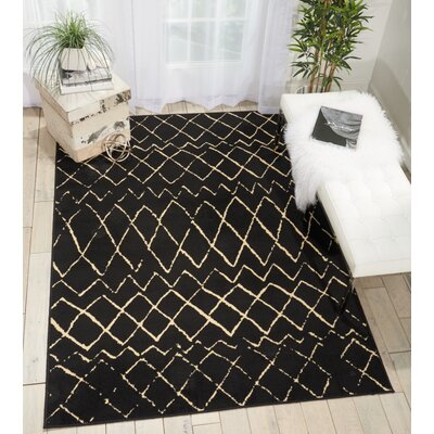 Sandra Black Indoor Area Rug Rug Size: 53 x 73